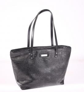 Elegantná kabelka z eko kože Kbas s krokodílím vzorom čierna 085645N