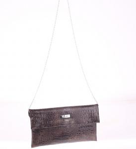 Listová kabelka z PVC Kbas cez rameno s krokodílím vzorom hnedá 085646M