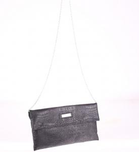 Listová kabelka z PVC Kbas cez rameno s krokodílím vzorom čierna 085646N
