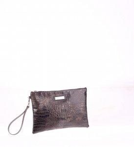 Listová kabelka z PVC Kbas na zips s krokodílím vzorom hnedá 085647M