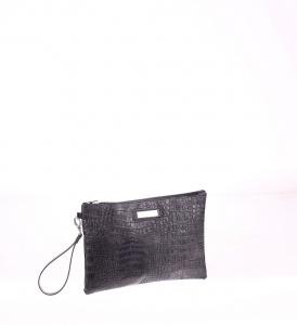 Listová kabelka z PVC Kbas na zips s krokodílím vzorom čierna 085647N