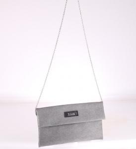 Listová kabelka cez rameno z PVC Kbas strieborná 085651PL