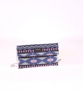 Listová kabelka z plátna Kbas s modrým aztéckym vzorom 085653AZ