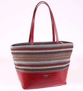 Dámská elegantní kabelka Kbas proužkovaná červená 085658GR