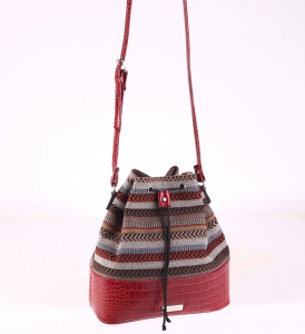 Dámska kabelka cez rameno eko koža Kbas s hadím motívom červená 085659GR
