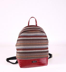 Női hátizsák ekobőrből Kbas mintázott piros 085660GR