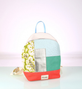 Női patchwork hátizsák Kbas vászonból és PVC-ből 085702