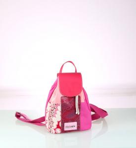 Dámský batoh z plátna Kbas růžový vzor patchwork