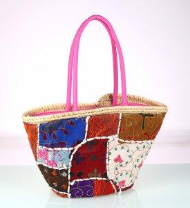 Dámský košík patchwork Kbas barevný s růžovými držadly 085708