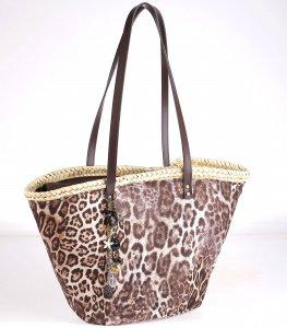 Coșuleț din paie Kbas cu model leopard maro închis 085717