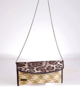 Slamená listová kabelka Kbas s potlačou leopard 085718