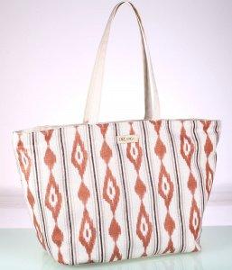 Plátěná taška Kbas vzorovaná cihlovo-bílá