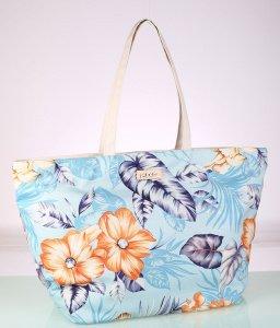 Plátená taška Kbas s kvetinovým vzorom bledomodrá