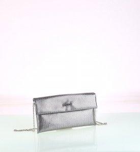 Metalická listová kabelka z eko kože Kbas strieborná 085729PL