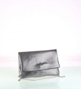 Elegantná listová kabelka z eko kože Kbas strieborná 085731PL