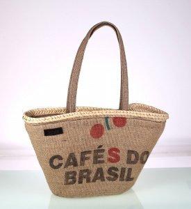 Košík z vrecoviny a slamy Kbas v motívom kávy 085741