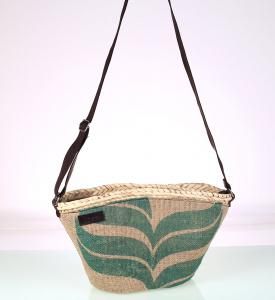 Dámská recyklovaná taška na rameno z pytloviny a slámy Kbas 085742