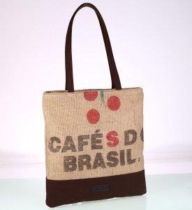 Dámska taška z vrecoviny recyklovaná Kbas s nápisom hnedá 085744