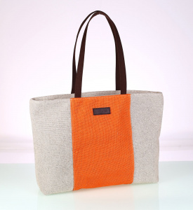 Plátená taška Kbas oranžová s hnedými rúčkami