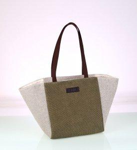 Plátená taška Kbas khaki s hnedými rúčkami