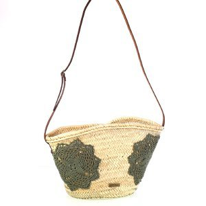 Dámska slamená taška na rameno s háčkovanými ozdobami Kbas kaki 085759K