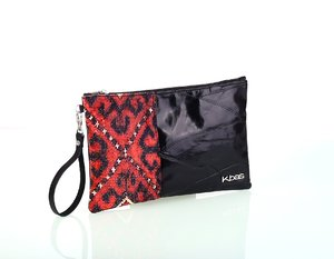 Geantă tip plic pentru dame Kbas din piele și material textil neagră 085760N