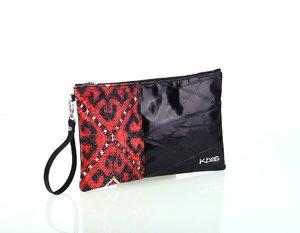 Dámska listová kabelka z kože a plátna Kbas čierna