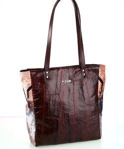 Dámska kabelka z kože a plátna Kbas hnedá