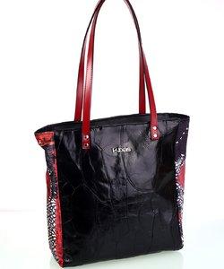 Dámska kabelka z kože a plátna Kbas čierna