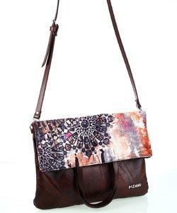 Dámska kabelka z kože a plátna Kbas s popruhom a rúčkami hnedá
