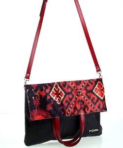 Dámska kabelka z kože a plátna Kbas s popruhom a rúčkami čierna