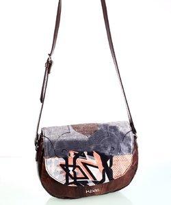 Dámska kabelka cez rameno z kože a plátna Kbas vzorovaná hnedá