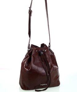 Dámska kožená kabelka cez rameno Kbas so sťahovacím zapínaním hnedá