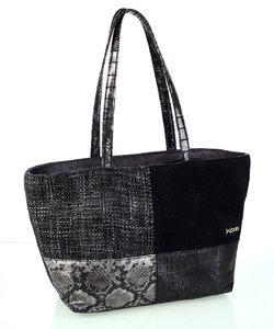 Dámska kabelka Kbas so vzorom patchwork šedá