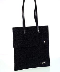 Dámska kabelka z plste Kbas s dekoračným pásom čierna