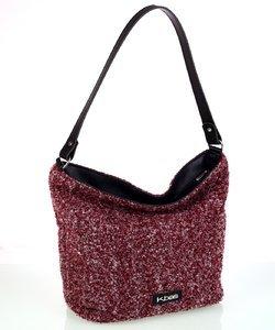 Veľká dámska kabelka z vlny Kbas granátová