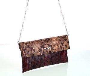 Geantă peste umăr cu lănţişor pentru damă din piele ecologică Kbas imitaţie de piele de şarpe maro 085788M