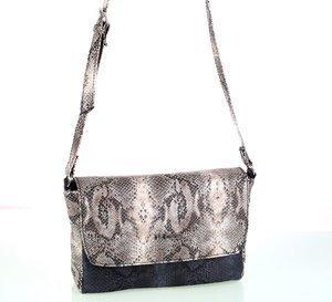 Geantă peste umăr pentru damă din piele ecologică Kbas imitaţie de piele de şarpe bej 085789BE