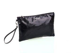 Listová kabelka z eko kože Kbas s metalickým odleskom čierna