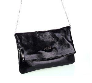 Dámska kabelka s retiazkou cez rameno z eko kože Kbas metalický odlesk čierna