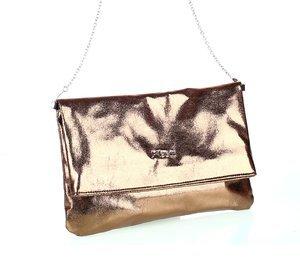 Geantă peste umăr din piele ecologică pentru dame Kbas reflecție metalică aurie 085793OR