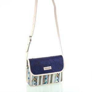Dámska taška na rameno zo slamy a látky Kbas modrá 085823AZ
