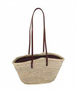 Coșuleț din fibre de paie Kbas cu căptușeală maro și mânere din piele 087102M
