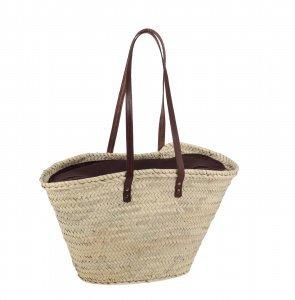 Coșuleț Kbas din fibre de palmier cu tapiserie din piele, cătușeală maro și curele lungi 0871066M