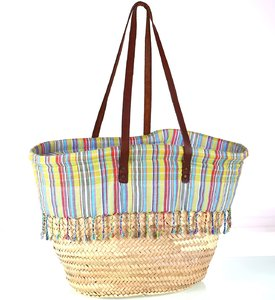 Dámsky palmový košík s podšívkou a koženými ramienkami Kbas prírodný 087109-2