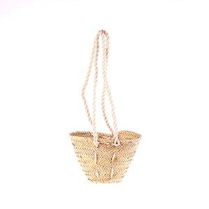 Dámsky malý slamený košík na rameno Kbas s popruhmi z povrazov 087110NA