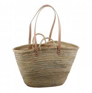 Palmový košík Kbas s koženými ramienkami a prírodnými rúčkami