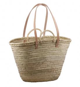 Kbas pálma kosár bőr pántokkal bélés nélkül természetes alapanyagokból nagyméretű 087124