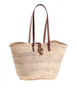 Košík z palmovej slamy s koženými rúčkami cez rameno a so zapínaním 087141
