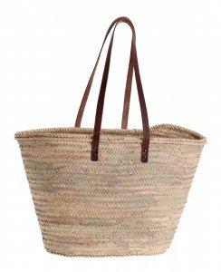 Košík z palmovej slamy s koženými rúčkami cez rameno 087142